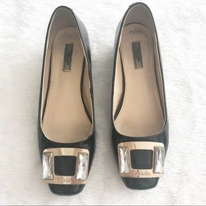 Prada patent leather block heels